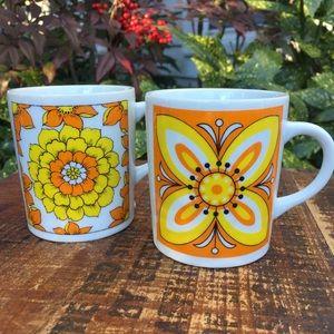Vintage orange & yellow floral mugs  Japan